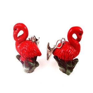 Flamingo resin tablecloth weights with metal clip set of 4