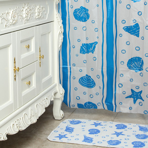 18Pcs bath accessories starfish shell plastic shower curtain with mat and hook sets
